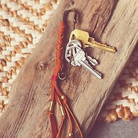 Free People Womens Leather Pin Key Ring