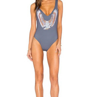 Eagles Print Backless One Piece Swimsuit