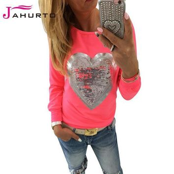 CREYU3C Jahurto Love Heart Sequins T-shirt Neon Color Round Neck Long Sleeve Slim Casual Cute Women Shirt Pullover Female Clothes