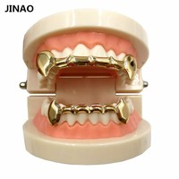 JINAO New Jewelry Sets Custom Fit Gold Color Plated Hip Hop Teeth Grills Caps Top&Bottom Grill Slim Half Grillz Set Ship from US
