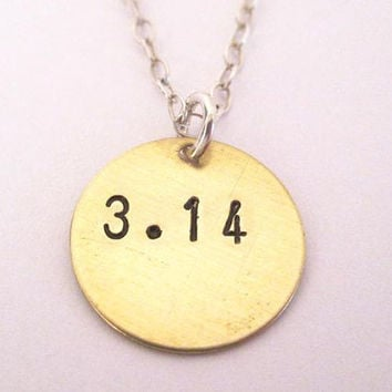 3.14 necklace, Pi Necklace, Math jewelry, math geek necklace