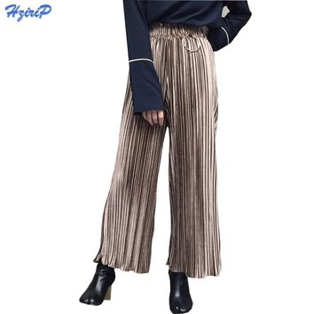 Winter Pants Corduroy Velvet Pleated Wide Leg Pants Women Loose Casual Pants Female High Waist Ladies Pant 2017 Spring Trousers