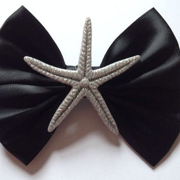 Black and Silver Glitter Starfish Hair Bow Hairbow Glittery Beach Summer Cute Star Ocean