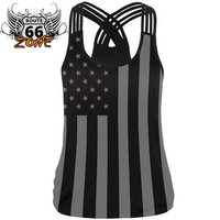 Proud to be American 3d Print Black Weaved Spaghetti Strap Women's Workout Tank Top
