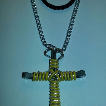 Yellow and silver candy cane wire wrapped horseshoe nail cross necklace jewelry