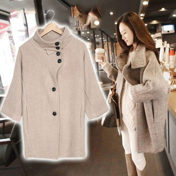 Fashion Women Korean Collared Wool Blend Single Breasted Parka Trench Coat  F_F = 1904688004
