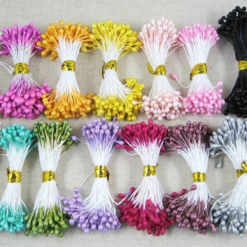 1350pcs lot 3mm Artificial Flower Double Heads Stamen Pearlized Craft Cards Cakes Decor Floral for wedding decor 11030315(1350)