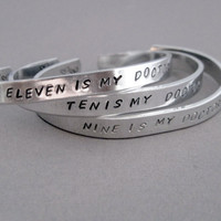 Doctor Who Inspired Bracelet - MY FAVORITE DOCTOR - Hand Stamped Aluminum Cuff - customizable