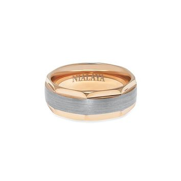 Men's Rose Gold and Black Band Ring