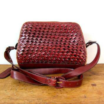 Brown Braided Leather Bag Vintage ETIENNE AIGNER Crossbody Purse Woven Cognac Reddish Brown Leather Womens Purse 90s Boho Preppy Bag DELLS