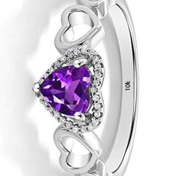 CERTIFIED 0.60 Ctw 10K White Gold Purple Amethyst and Diamond Engagement Ring