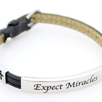 Expect Miracles Black Leather Bracelet