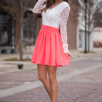 Falling For Lace Dress, Coral-White