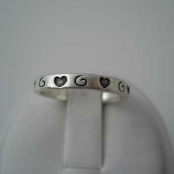 Sterling Silver 925 Eternity Hearts Swirls Ring Band Size 7.5 925