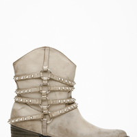 Taupe Faux Leather Studded Slouch Chunky Cowboy Boots