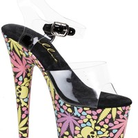 7 Inch Marijuana Leaf Ankle Strap Platform Sandal-Stripper Shoes