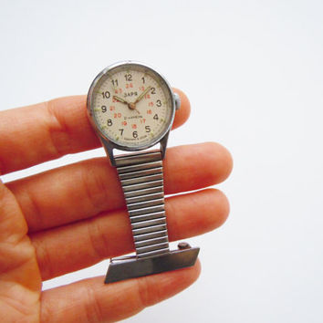Unique Pin Watch Zaria 21 Jewels. Rare Vintage Russian Nurses, Doctors Watch. Soviet Unisex Medical Watch Great Gift Idea