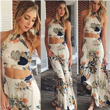 LMFON Fashion Multicolor Floral Print Sleeveless Small Vest Long Skirt Set Two-Piece