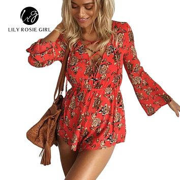 Boho Sexy Lace Up Deep V Neck Red Floral Print Women Playsuits Elegant Summer  Backless Rompers Short Overalls Jumpsuit