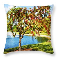 "Mcbride Arboretum Pond Throw Pillow for Sale by Shawna Rowe - 14"" x 14"""