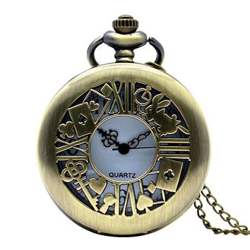 Steampunk Alice in Wonderland Hollow Rabbit Poker Key Quartz Pocket Watch Analog Pendant Necklace Mens Womens  relogio de bolso