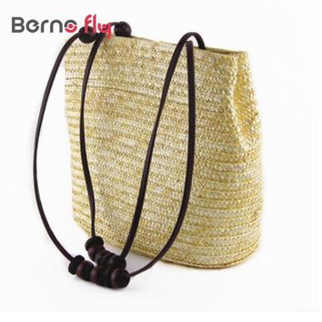 2018 New Vintage Women Handbag Fashion Solid Shopping Tote Beach Bag Casual Bucket Straw Tote Bag Summer Shoulder Bag