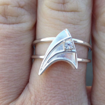 $500.00 Sterling Silver Engagement Ring White Sapphire Star Trek Insignia by VaLaJewellery