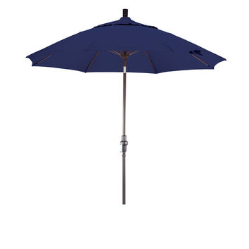 9 Foot Sunbrella 4A Fabric Fiberglass Rib Crank Lift Collar Tilt Aluminum Patio Umbrella with Bronze Pole