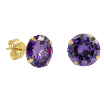10k Yellow Gold Purple Amethyst CZ Stud Earrings Cubic Zirconia Round Prong Set