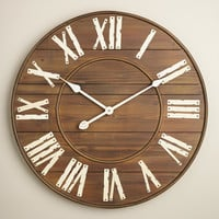 Slatted Wood Wall Clock - World Market