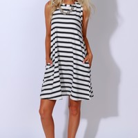 Line Up Striped Dress Off White