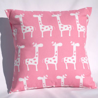 "Pillows, Baby, Nursery, Baby Girl, Pink Giraffes, Gray Elephants, Pink and Grey Chevron Pillows, 1 - 18"" x 18"" Each"
