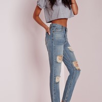 Missguided - riot retro high rise ripped mom jeans vintage blue