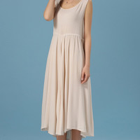 Apricot Scoop Neckline Sleeveless Vintage Loose Fitting Dress