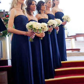 Navy Blue 2017 Cheap Bridesmaid Dresses Under 50 A-line Strapless Floor Length Chiffon Long Wedding Party Dresses