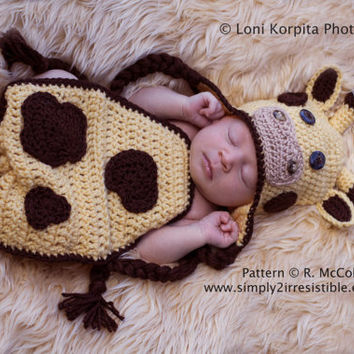 Giraffe Hat and Cover - Crochet Pattern 108 - Beanie and Earflap Instructions - Newborn to 6 Months - uk or us Terms - INSTANT DOWNLOAD
