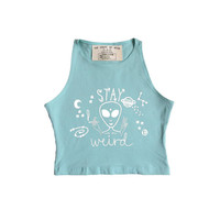 Stay weird high neck crop top