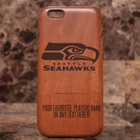Wooden iPhone 6 case, Seattle Seahawks case, wood iPhone 6 case - Wooden case - Superbowl Case - Laser engraved case - NFL Samsung case