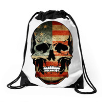 4th july skull us usa Drawstring Bags