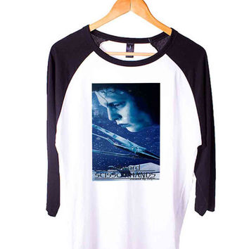 Edward Scissorhands Short Sleeve Raglan - White Red - White Blue - White Black XS, S, M, L, XL, AND 2XL*AD*