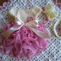 Baby Girl Coming home outfit in cream and dusty roze, newborn girl clothing set, hospital baby girl first outfit