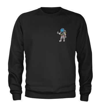 Embroidered Astronaut in a Space Suit Patch (Pocket Print) Adult Crewneck Sweatshirt
