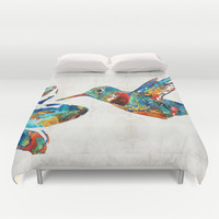 Colorful Hummingbird Art by Sharon Cummings Duvet Cover by Sharon Cummings