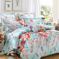 LOVO Flower and Feather 100% Cotton 300TC Percale 4pcs Bedding Set Duvet Cover,Flat Sheet and 2 Pillowcases Queen