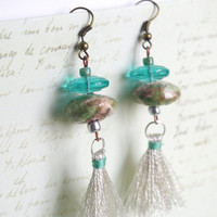 Tassel Gipsy Fringe Earrings / Boho Silver green Earrings / Textile and ceramic Jewelry