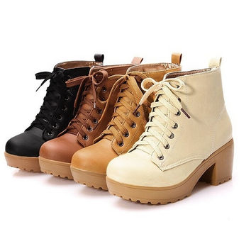2015 New Autumn Spring Women Artificial High Heel Platform Ankle Boots = 1946544452