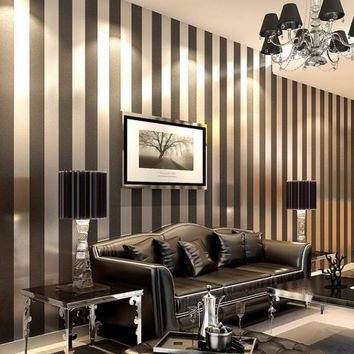 Q QIHANG Modern Minimalist Non-woven Vertical Stripes Wallpaper Roll Black Gray 0.53m*10m=5.3m2