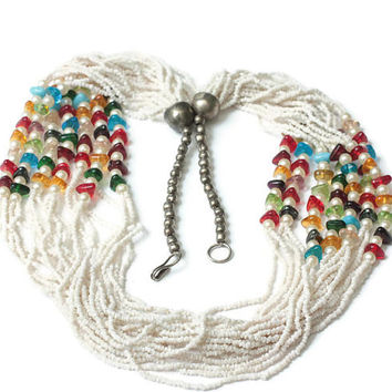 White Seed Bead Necklace Faux Pearls Multi Color Beads Multi Strands Boho Vintage