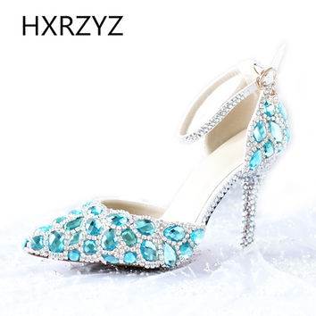 Blue Point Toe Rhinestone High-heel Shoes Gorgeous Bride Wedding Evening Party Crystal Women's Shoes Ankle Strap Sandals Pumps