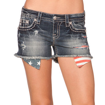 Miss Me Women's Flag Pocket Denim Cut-Off Shorts